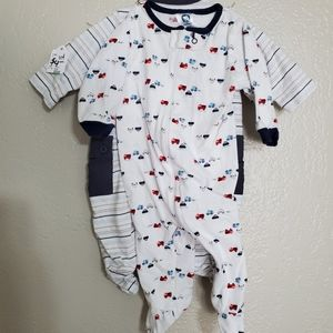 2 pc sleeper footed bodysuit 0-3mo